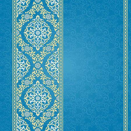 동부 스타일에서 벡터 원활한 테두리. 텍스트 디자인과 장소 화려한 요소입니다. 결혼식 초대장과 파란색 배경에 cards.Traditional 빛 장식 인사말 장식 레