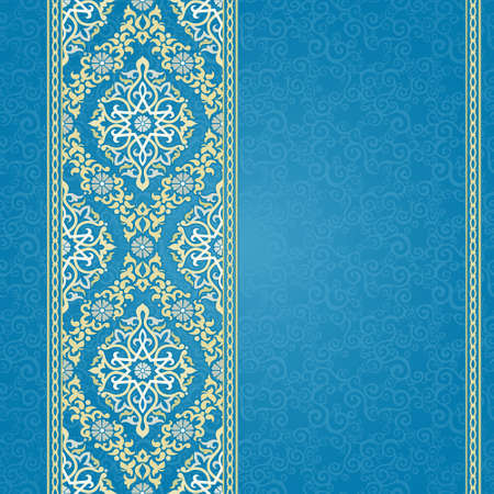 islamic pattern: Vector seamless border in Eastern style. Ornate element for design and place for text. Ornamental lace pattern for wedding invitations and greeting cards.Traditional light decor on blue background. Illustration