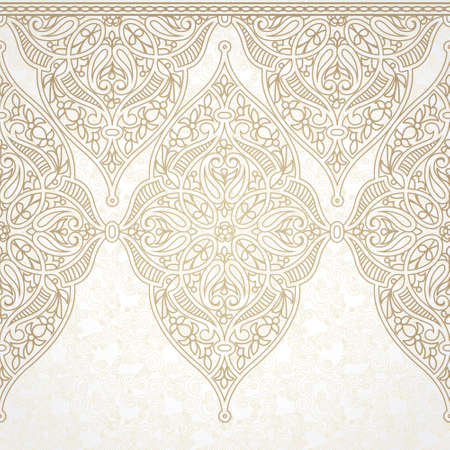 arab: Vector seamless border in Eastern style. Ornate element for design. Ornamental lace pattern for wedding invitations and greeting cards. Traditional light decor.