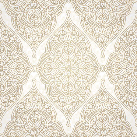 arabic motif: Vector seamless pattern in Eastern style. Beige monochrome element for design. Ornamental lace tracery on light background. Ornate floral decor for wallpaper. Endless texture. Pastel pattern fill.