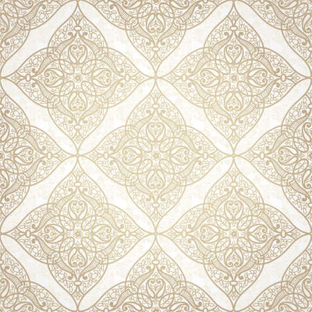 Vector seamless pattern in Eastern style. Beige monochrome element for design. Ornamental lace tracery on light background. Ornate floral decor for wallpaper. Endless texture. Pastel pattern fill. Stock Vector - 33380195