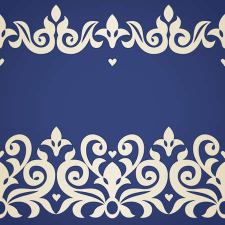 Vector seamless border in Victorian style. Ornate element for design and place for text. Ornamental lace pattern for wedding invitations and greeting cards. Traditional decor. Vector