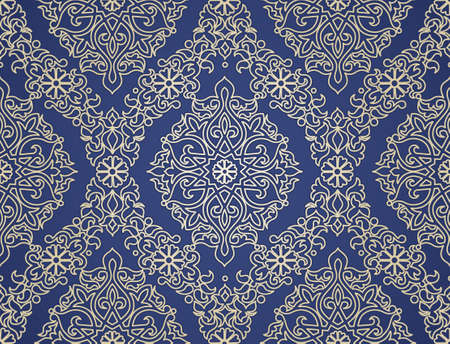 lace vector: Vector seamless pattern in Eastern style. Decorative element for design. Ornamental lace tracery on blue background. Ornate floral decor for wallpaper. Endless texture and lacy pattern fill.