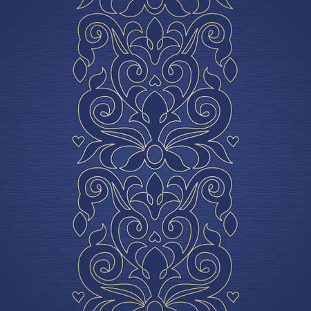 Vector seamless border in Victorian style. Ornate element for design and place for text. Ornamental lace pattern for wedding invitations and greeting cards. Traditional golden decor. Vector