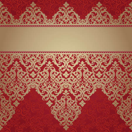 baroque wallpaper: Vintage seamless border in Eastern style. Element for design. Place for your text. It can be used for decorating of wedding invitations, greeting cards, decoration for bags and clothes.