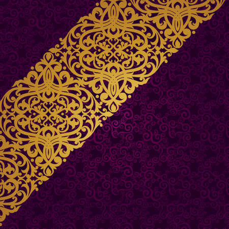 Vector diagonal border in Victorian style. Element for design. Place for your text. It can be used for decorating of wedding invitations, greeting cards, decoration for bags and clothes. Vector
