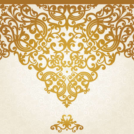 ornate gold frame: Vector seamless border in Victorian style. Element for design. Place for your text. It can be used for decorating of wedding invitations, greeting cards, decoration for bags and clothes.