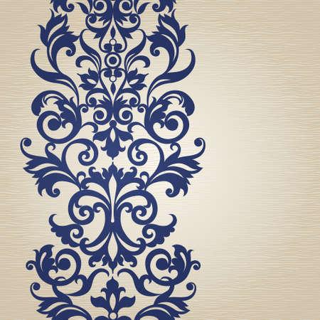 friso: Vector sin frontera en estilo victoriano. Elemento para el diseño. Lugar para el texto. Puede ser utilizado para la decoración de las invitaciones de boda, tarjetas de felicitación, decoración de bolsas y ropa.