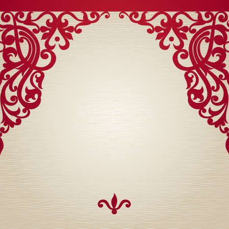 background motif: Vector seamless border in Victorian style. Element for design. Place for your text. It can be used for decorating of wedding invitations, greeting cards, decoration for bags and clothes.