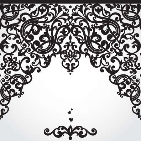 baroque border: Vector seamless border in Victorian style. Element for design. Place for your text. It can be used for decorating of wedding invitations, greeting cards, decoration for bags and clothes.
