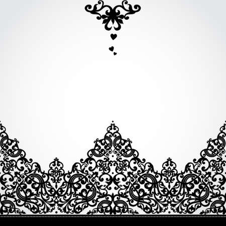 element for design: Vector seamless border in Victorian style. Element for design. Place for your text. It can be used for decorating of wedding invitations, greeting cards, decoration for bags and clothes.