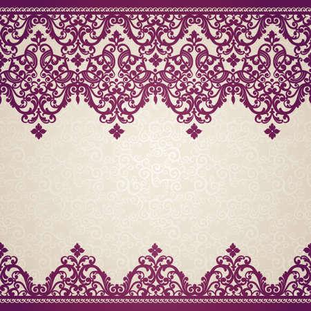Vector naadloze grens in Victoriaanse stijl. Element voor ontwerp. Plaats voor uw tekst. Het kan worden gebruikt voor het versieren van de bruiloft uitnodigingen, wenskaarten, decoratie voor tassen en kleding. Vector Illustratie