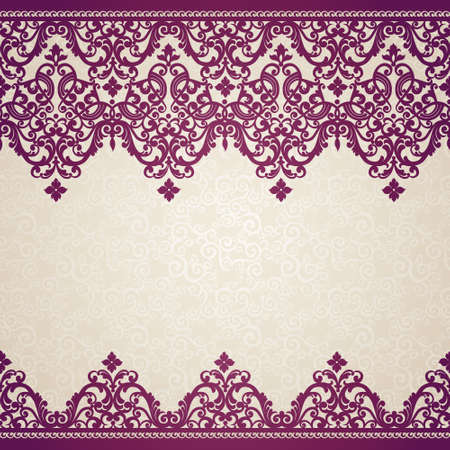 Vector seamless border in Victorian style. Element for design. Place for your text. It can be used for decorating of wedding invitations, greeting cards, decoration for bags and clothes.