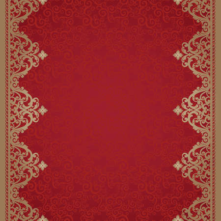 oriental background: Vintage seamless border in Eastern style. Element for design. Place for your text. It can be used for decorating of wedding invitations, greeting cards, decoration for bags and clothes.