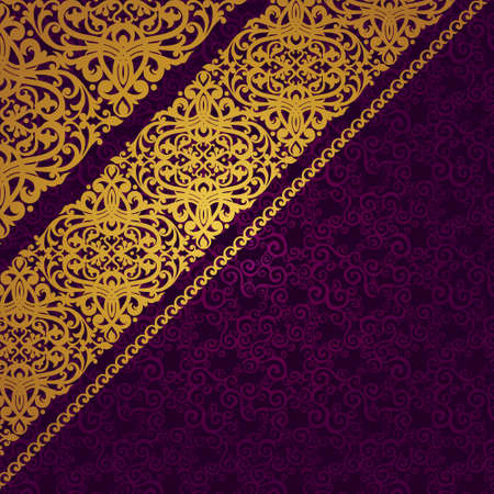 gold swirls: Vector diagonal border in Victorian style. Element for design. Place for your text. It can be used for decorating of wedding invitations, greeting cards, decoration for bags and clothes.