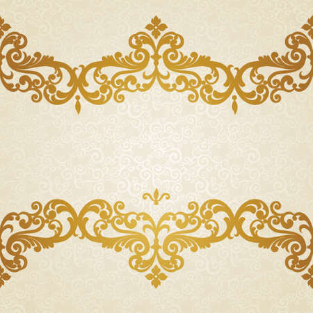 gold frame: Vector seamless border in Victorian style. Element for design. Place for your text. It can be used for decorating of wedding invitations, greeting cards, decoration for bags and clothes.