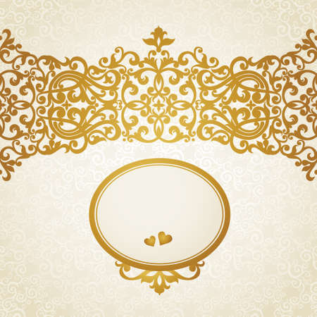 golden border: Vector seamless border in Victorian style. Element for design. Place for your text. It can be used for decorating of wedding invitations, greeting cards, decoration for bags and clothes.
