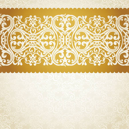gold swirls: Vector seamless border in Victorian style. Element for design. Place for your text. It can be used for decorating of wedding invitations, greeting cards, decoration for bags and clothes.