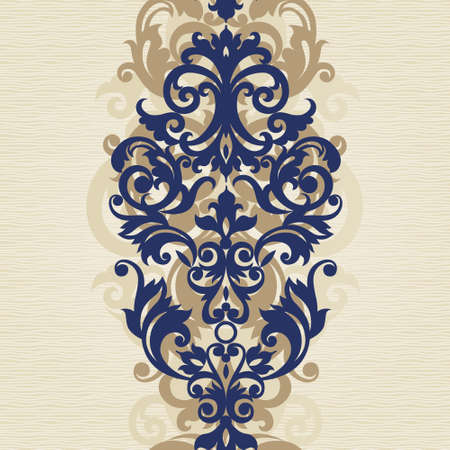 seamless vintage floral pattern: Vector seamless border in Victorian style. Element for design. Place for your text. It can be used for decorating of wedding invitations, greeting cards, decoration for bags and clothes.