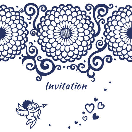 Vector seamless border on card with large flowers, cupid and scrolls. Template frame design for wedding card. You can place your text in the empty place. Vector