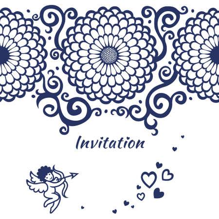 bordes decorativos: Vector sin fronteras en la tarjeta con flores grandes, Cupido y pergaminos. Diseño del marco del modelo para la tarjeta de boda. Usted puede colocar su texto en el lugar vacío.