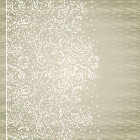 scrollwork: Ornate vintage seamless border with lacy ornament. Persian style background. Place for your text. It can be used for decorating of invitations, greeting cards, decoration for bags and clothes.