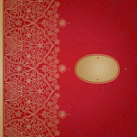 Jahrgang nahtlose Grenze mit Spitzen-Verzierung. Ethnische Lochmuster. Platz für Ihren Text. Es kann für die Dekoration der Hochzeitseinladungen, Grußkarten, Dekoration für Taschen und Kleidung verwendet werden. Standard-Bild - 34319734