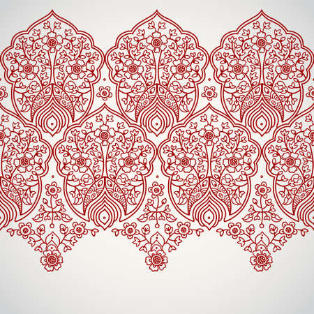 border designs: Vintage seamless border with lacy ornament. Ethnic lace pattern. Place for your text. It can be used for decorating of wedding invitations, greeting cards, decoration for bags and clothes. Illustration