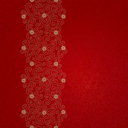 scrollwork: Ornamental seamless border with small flowers and curls. Red floral endless background. It can be used for wallpaper, pattern fills, web page background, surface textures.