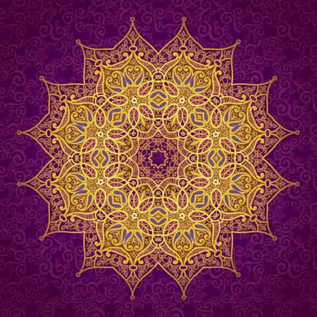 Vector pattern in Eastern style. Ornate element for design and place for text. Ornamental lace pattern for wedding invitations and greeting cards. Traditional golden decor on purple background.