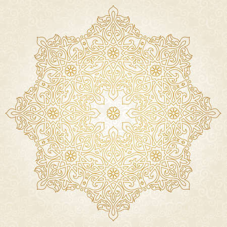 Vector pattern in Eastern style. Ornate element for design and place for text. Ornamental lace pattern for wedding invitations and greeting cards. Traditional golden decor on scroll work background.