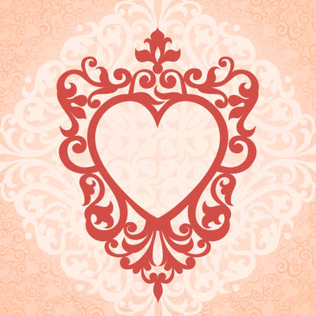 Ornate frame in the shape of heart on pink background. Vector Victorian border. Element for design. Ornamental lace pattern for wedding invitations and greeting cards. Traditional floral decor. Illustration