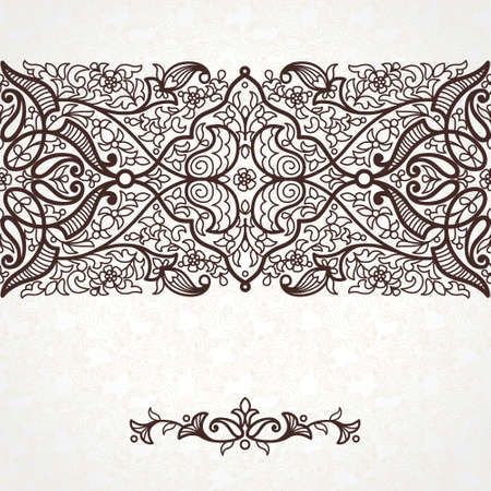 Vector Seamless Border In Eastern Style Ornate Element For Design Ornamental Lace Pattern