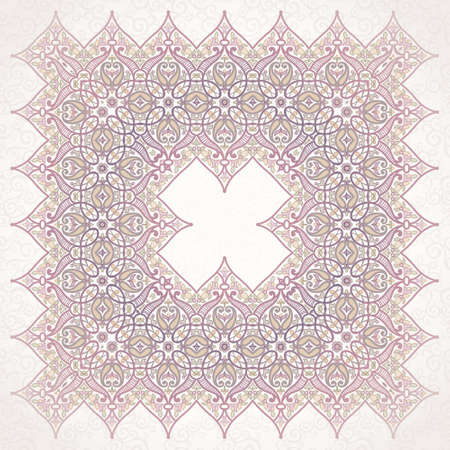 arabic motif: Vector pattern in Eastern style. Ornate element for design and place for text. Ornamental lace pattern for wedding invitations and greeting cards. Traditional pastel decor on light background.