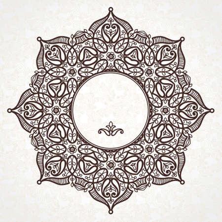 friso: Vector marco de filigrana en estilo oriental. Adornado elemento para el diseño y el lugar de texto. Patrón de encaje ornamental para las invitaciones de boda y tarjetas de felicitación. Decoración floral tradicional. Vectores