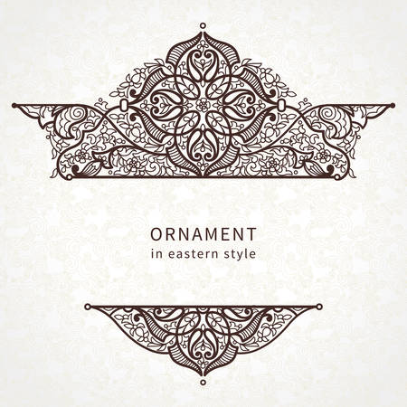 lace vector: Vector lace card in Eastern style on scroll work background. Ornate element for design. Place for text. Ornamental pattern for wedding invitations, greeting cards. Traditional outline decor.