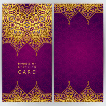 oriental: Vintage ornate cards in oriental style. Golden Eastern floral decor. Template frame for greeting card and wedding invitation. Ornate vector border and place for your text.