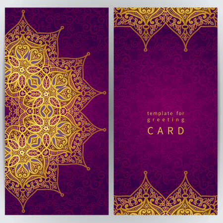 islamic: Vintage ornate cards in oriental style. Golden Eastern floral decor. Template frame for greeting card and wedding invitation. Ornate vector border and place for your text.
