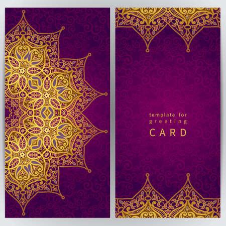 Vintage tarjetas adornadas en estilo oriental. Decoración floral oriental de oro. Marco de plantilla de tarjeta de felicitación y la invitación de la boda. Vector de la frontera adornado y lugar para el texto. Foto de archivo - 35060004