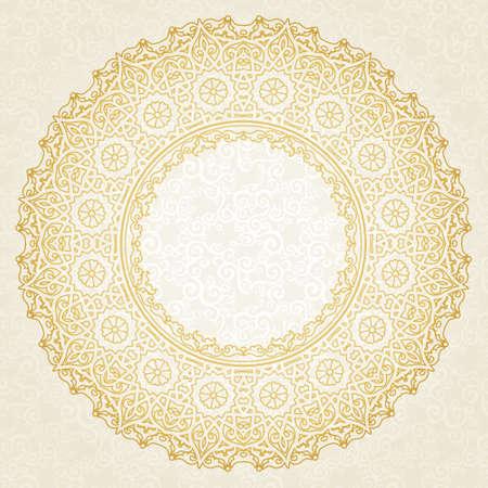 Filigraan vector frame in Oost-stijl. Sierlijke element voor ontwerp en plaats voor tekst. Sier kant patroon voor bruiloft uitnodigingen en wenskaarten. Traditionele bloemen gouden decor.