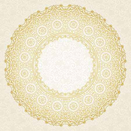 Filigree vector frame in Eastern style. Ornate element for design and place for text. Ornamental lace pattern for wedding invitations and greeting cards. Traditional floral golden decor.