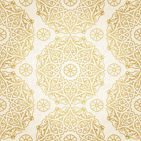oriental background: Vector seamless pattern in Eastern style. Beige monochrome element for design. Ornamental lace tracery on light background. Ornate floral decor for wallpaper. Endless texture. Golden pattern fill.