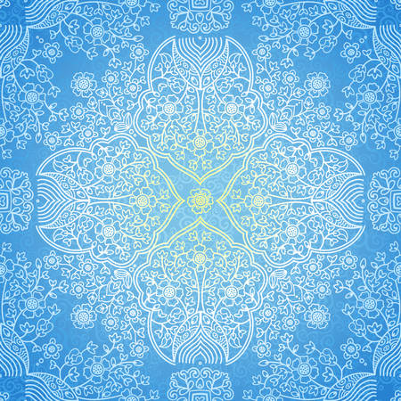 winter wallpaper: Vector seamless pattern in Eastern style. Elegant element for New Years design. Ornamental lace tracery on light background. Ornate floral decor for wallpaper. Endless texture. Winter pattern fill.