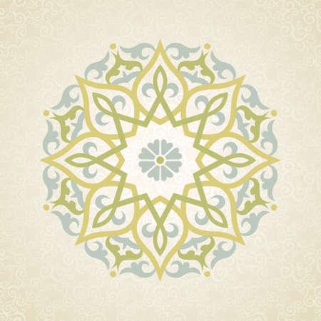 Vector patroon in Oost-stijl. Sierlijke element voor ontwerp en plaats voor tekst. Sier kant patroon voor bruiloft uitnodigingen en wenskaarten. Traditionele pastel decor op lichte achtergrond.
