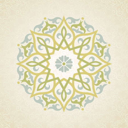 arabic: Vector pattern in Eastern style. Ornate element for design and place for text. Ornamental lace pattern for wedding invitations and greeting cards. Traditional pastel decor on light background.