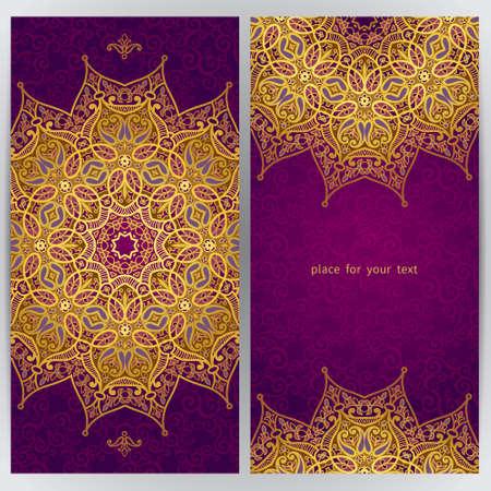 オリエンタル スタイルのヴィンテージの華やかなカード。黄金の東花装飾です。グリーティング カード、結婚式招待状のテンプレート フレーム。  イラスト・ベクター素材