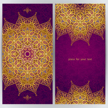 islamic pattern: Vintage ornate cards in oriental style. Golden Eastern floral decor. Template frame for greeting card and wedding invitation. Ornate vector border and place for your text.