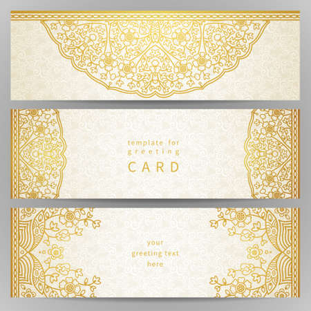 lace: Vintage ornate cards in oriental style. Golden Eastern floral decor. Template frame for greeting card and wedding invitation. Ornate vector border and place for your text.