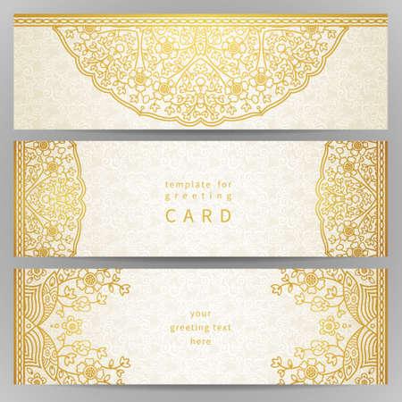 Vintage sierlijke kaarten in oosterse stijl. Golden Oost bloemen decor. Template frame voor wenskaart en bruiloft uitnodiging. Sierlijke vector grens en plaats voor uw tekst. Stock Illustratie