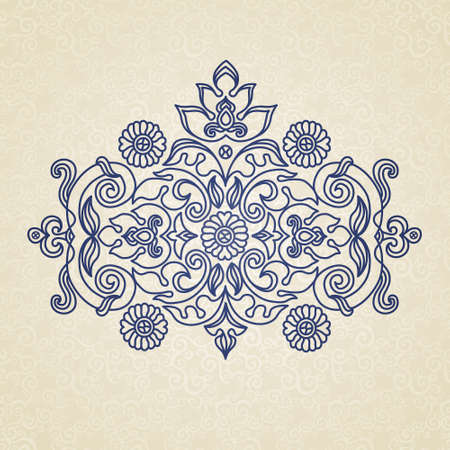 scroll work: Vector vintage pattern in Eastern style on scroll work background. Ornate element for design. Place for text. Ornamental pattern for wedding invitations, greeting cards. Traditional outline decor. Illustration